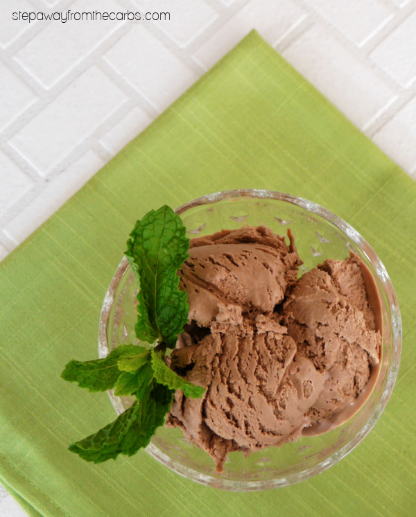 Low Carb Mint Chocolate Ice Cream - a soft scoop recipe that is sugar free, LCHF, and keto friendly