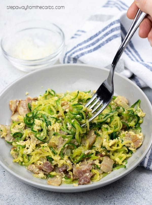 Low Carb Zucchini Carbonara - a wonderful version of the Italian classic! Gluten free and LCHF recipe with video tutorial!