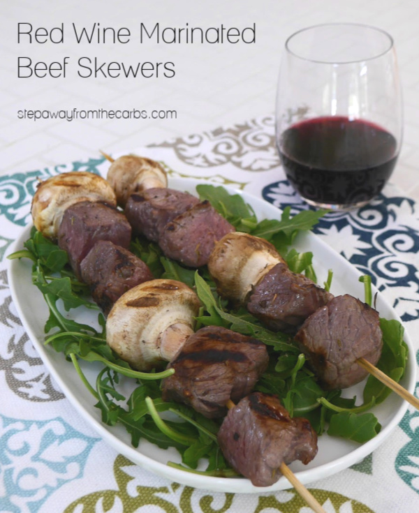 Red Wine Marinated Beef Skewers - great for low carb and keto grilling!