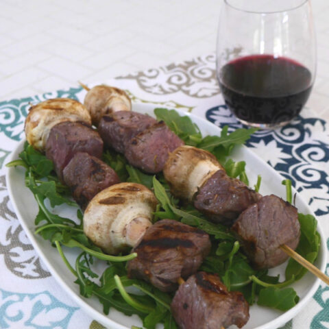 Red Wine Marinated Beef Skewers