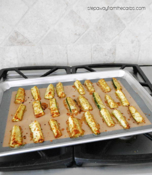 Low Carb Zucchini Fries - roasted to perfection with Italian seasoning! Gluten free and keto recipe.