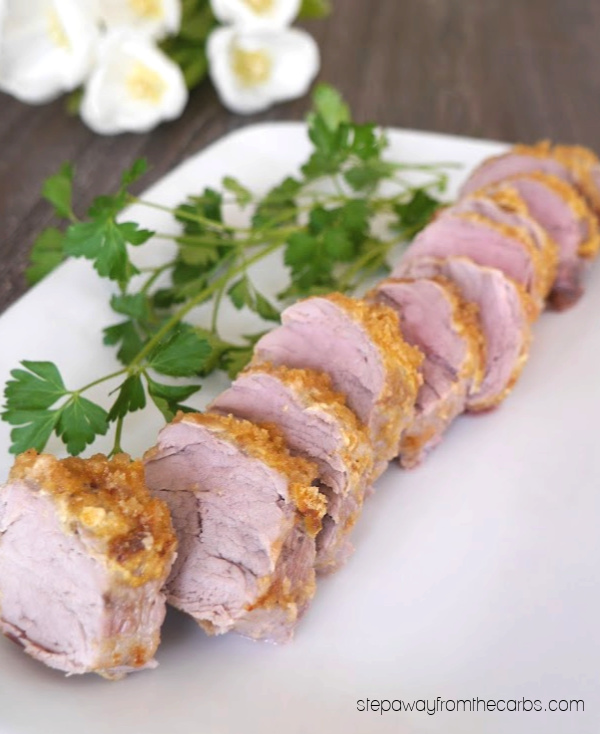 Pork Rind Crusted Pork Tenderloin - a delicious three-ingredient zero carb recipe.