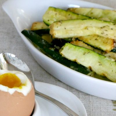 Soft Boiled Egg and Roasted Zucchini Fries