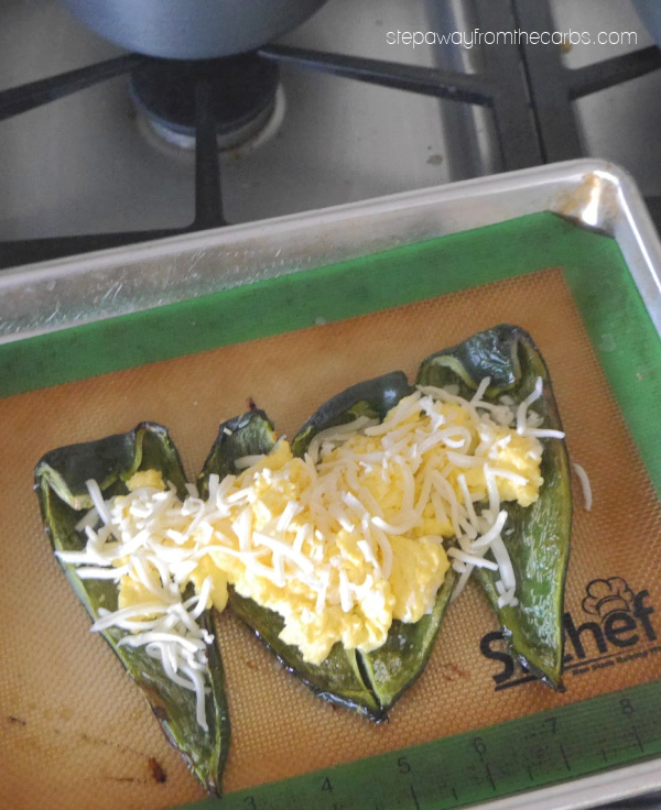 Spicy Stuffed Poblano Breakfast - a low carb, keto, and gluten free recipe with a kick!