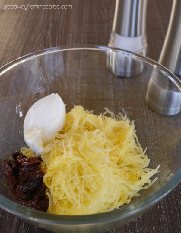 Spaghetti Squash Au Gratin - a low carb side dish with crunchy pork rind topping