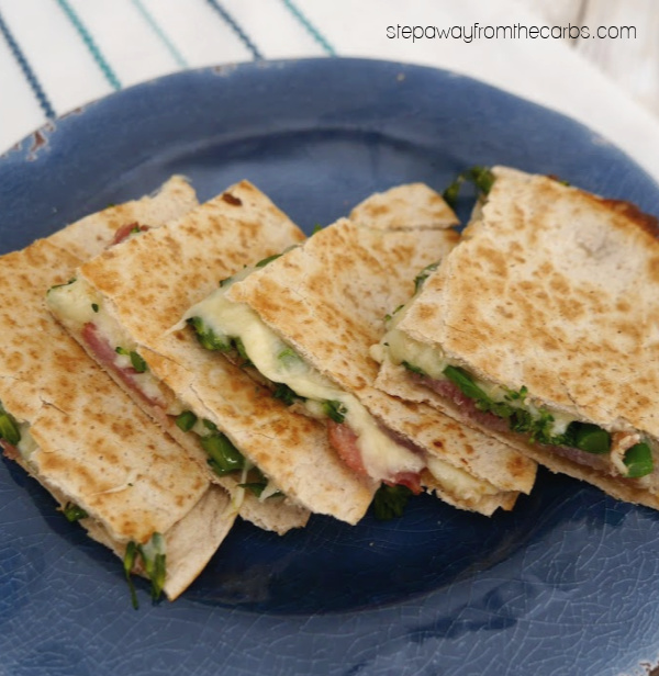 Low Carb Cheese, Bacon, and Broccoli Quesadilla