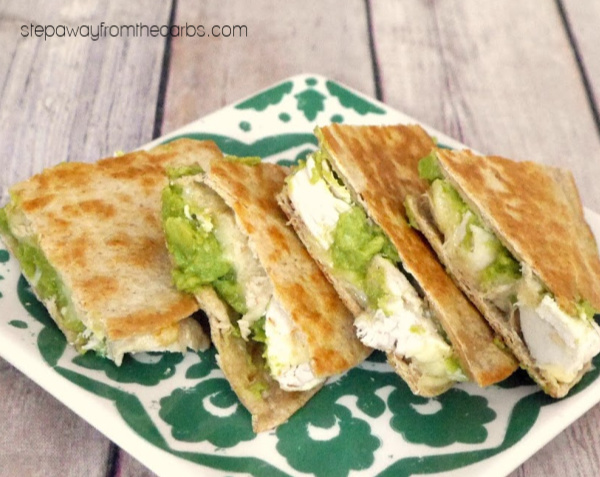 Low Carb Cheese, Chicken, and Guacamole Quesadilla