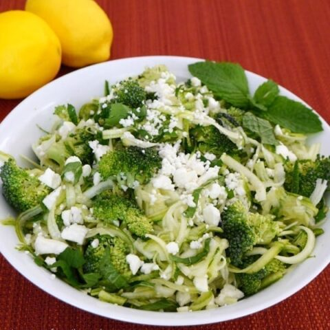 Raw Zucchini and Broccoli Salad with Mint and Feta
