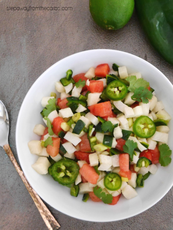 Spicy Watermelon and Jicama Salsa - a refreshing low carb recipe