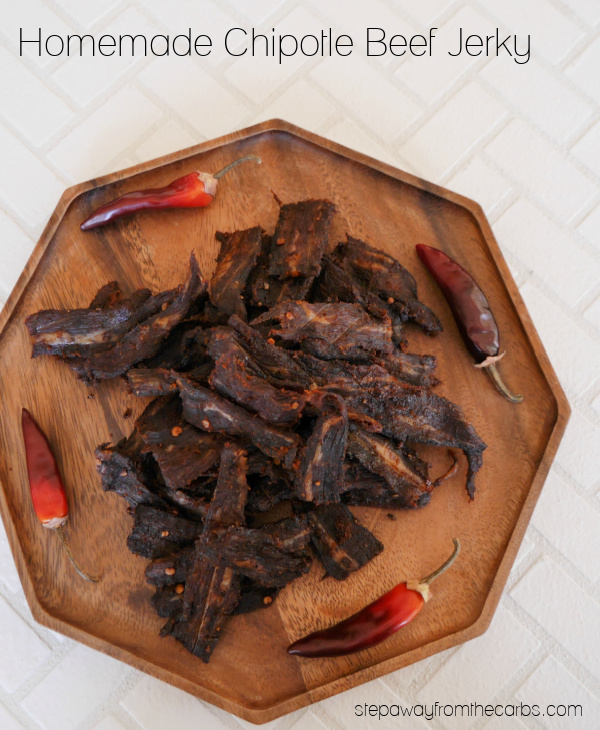 Homemade Chipotle Beef Jerky - made in the oven! Low carb and sugar free recipe.