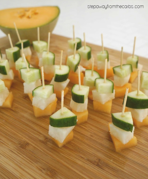 Low Carb Jicama, Melon and Cucumber Skewers with a raspberry dipping sauce!