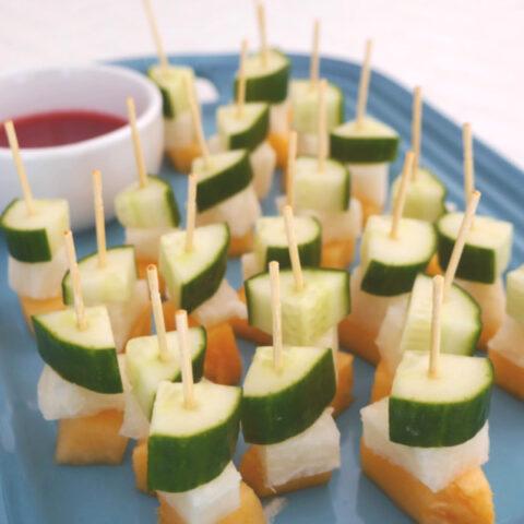 Jicama, Melon and Cucumber Skewers