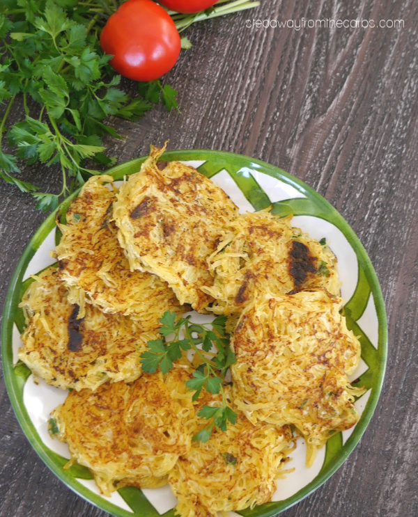 Spaghetti Squash Fritters - a delicious low carb side dish recipe!