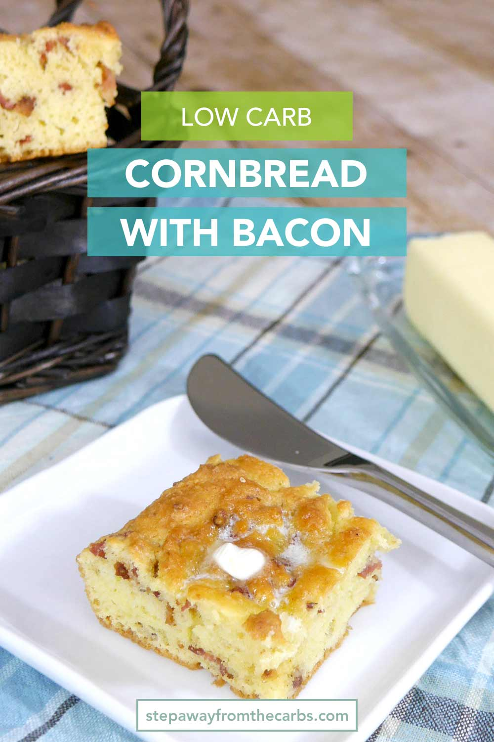 Low Carb Cornbread with Bacon - a low carb alternative to the traditional recipe