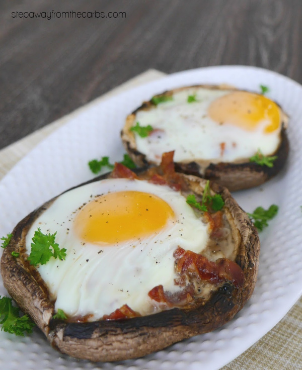 Egg and Bacon Stuffed Mushrooms - amazing low carb breakfast, brunch, or lunch!!