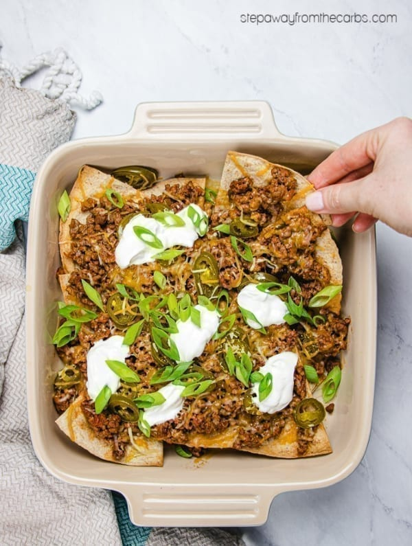 Low Carb Beef Nachos - perfect for parties! With easy homemade chips made from low carb tortillas!