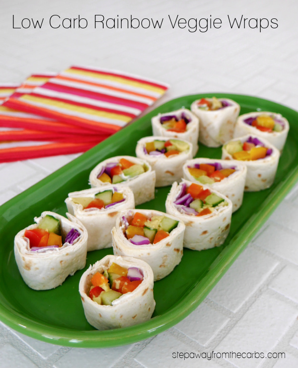 Low Carb Rainbow Veggie Wraps - a colorful appetizer or snack