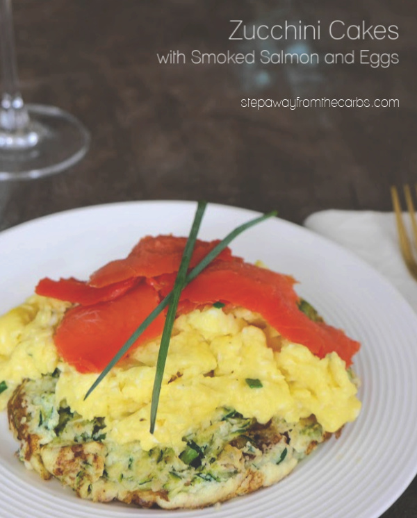 Low Carb Zucchini Cakes with Smoked Salmon and Eggs - a delicious breakfast or brunch recipe!