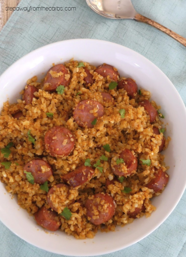 Sausage and Cauliflower Rice Pilaf - a delicious low carb and keto recipe