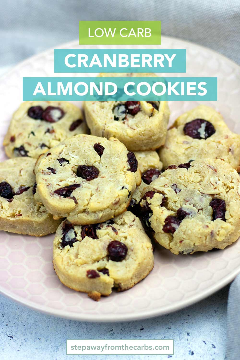 Low Carb Cranberry Almond Cookies - perfect for the festive season! Gluten free, keto, sugar free and dairy free recipe with video tutorial!