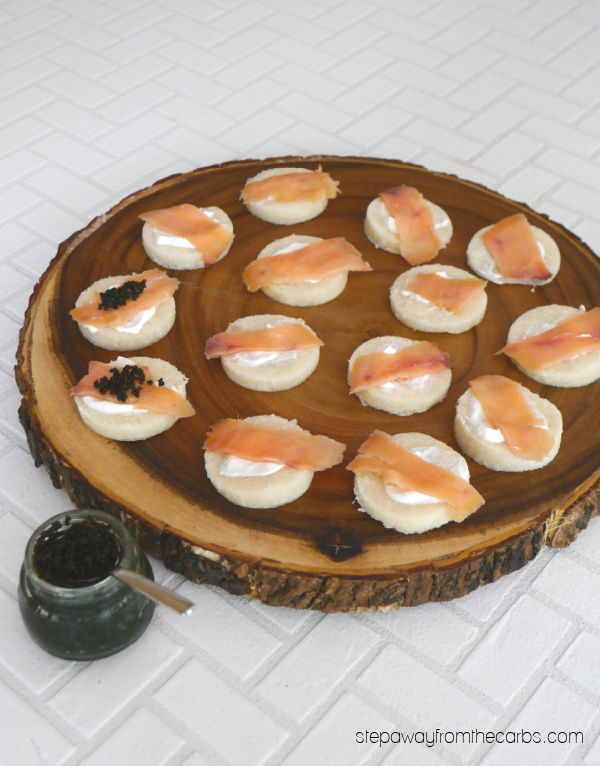 Low Carb Blini - a pretty appetizer recipe that is perfect for low carbers!