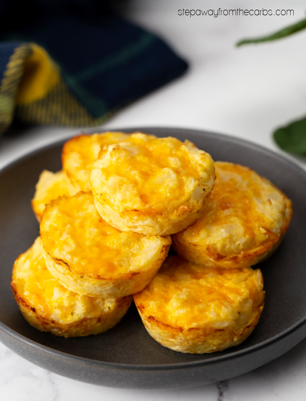 Low Carb Cauliflower Cheese Muffins - a gluten free and keto friendly snack or side dish!