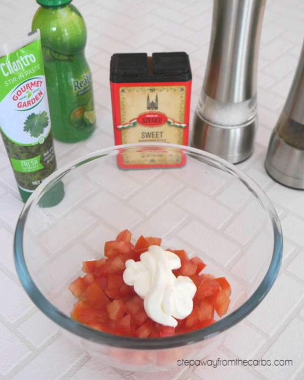 Creamy Tomato Salsa - a low carb recipe that is perfect for topping chicken or steak!