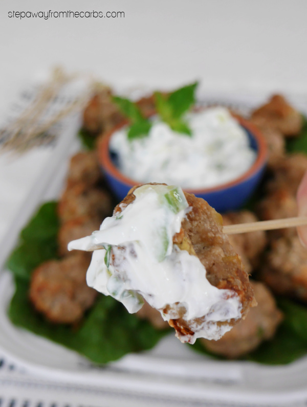 Low Carb Lamb and Eggplant Meatballs with cumin and mint. Serve as an appetizer or snack!