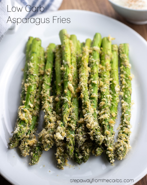 Low Carb Asparagus Fries - with crushed pork rinds for a delicious crunch! Keto and gluten free recipe.