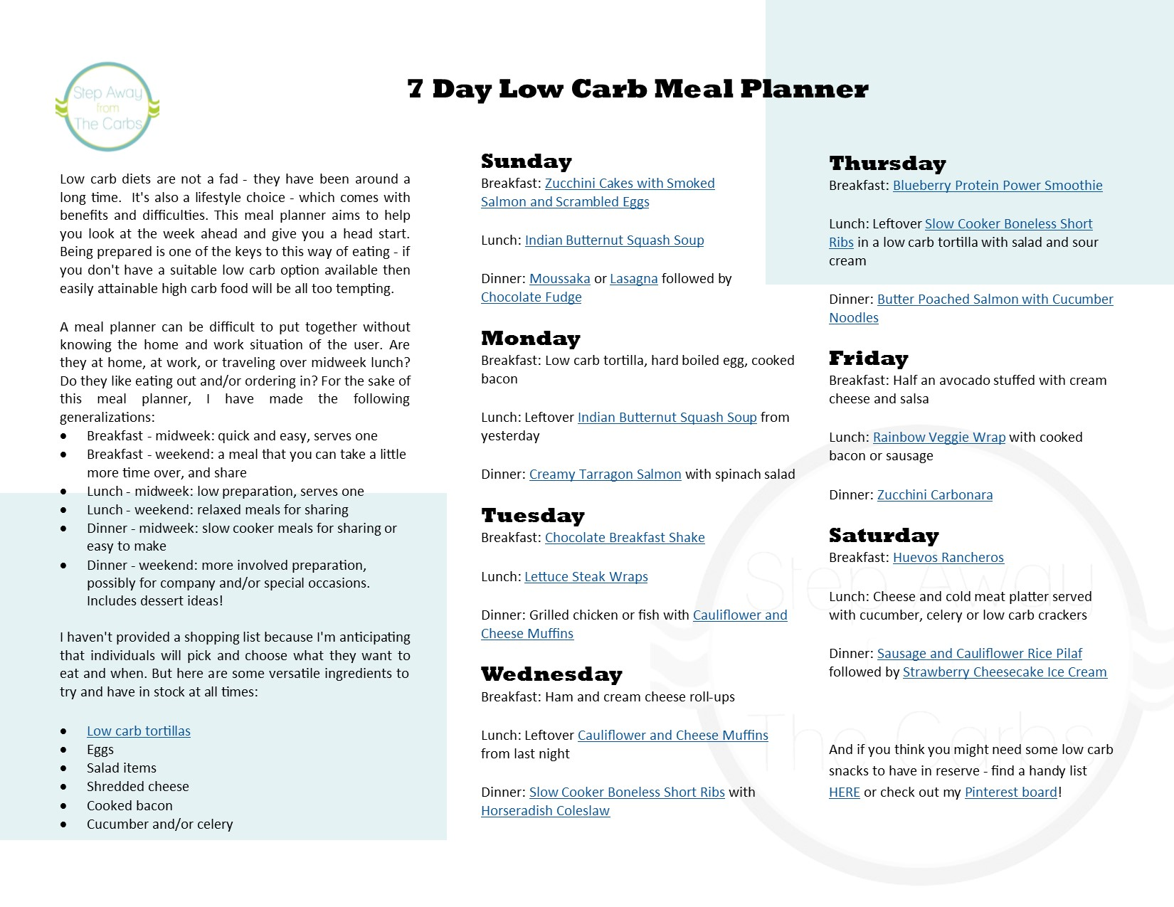 7 Day Low Carb Meal Planner Step Away From The Carbs