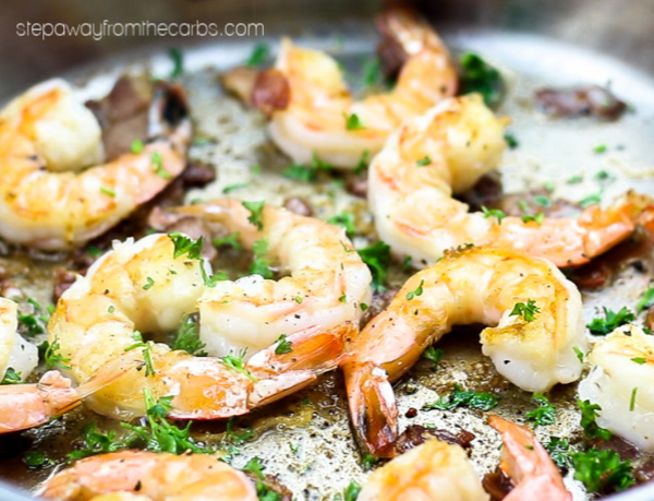 Buttery Shrimp with Bacon - three ingredient low carb recipe. With video tutorial!