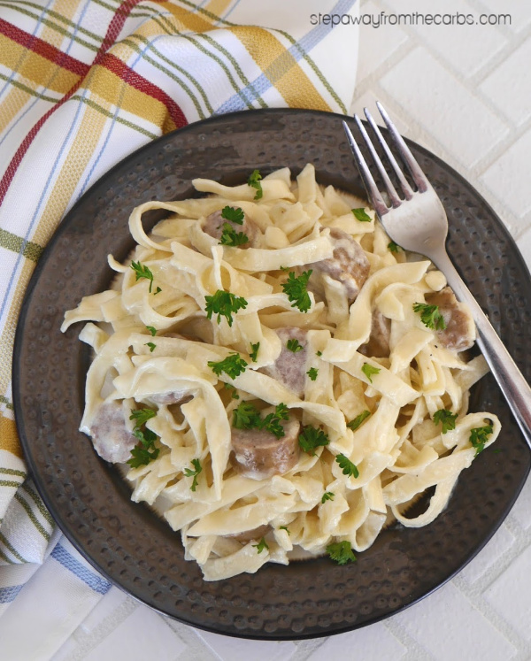 Low Carb Sausage Alfredo with (low carb) Fettucine - a comforting and satisfying meal