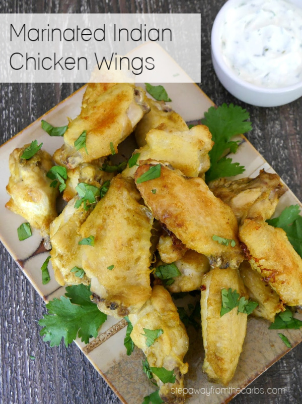 Marinated Indian Chicken Wings - a delicious low carb appetizer. Dairy free and keto recipe.