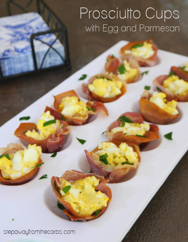 Prosciutto Cups with Egg and Parmesan - low carb and keto appetizer or snack!