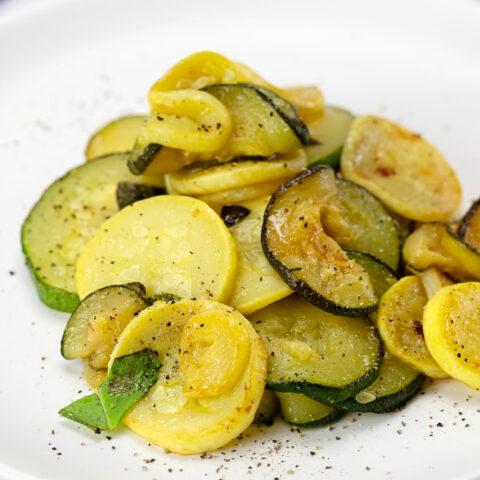 Sautéed Zucchini and Yellow Squash with Lemon and Basil