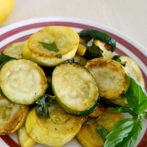 Sauteed Zucchini and Yellow Squash with Lemon and Basil