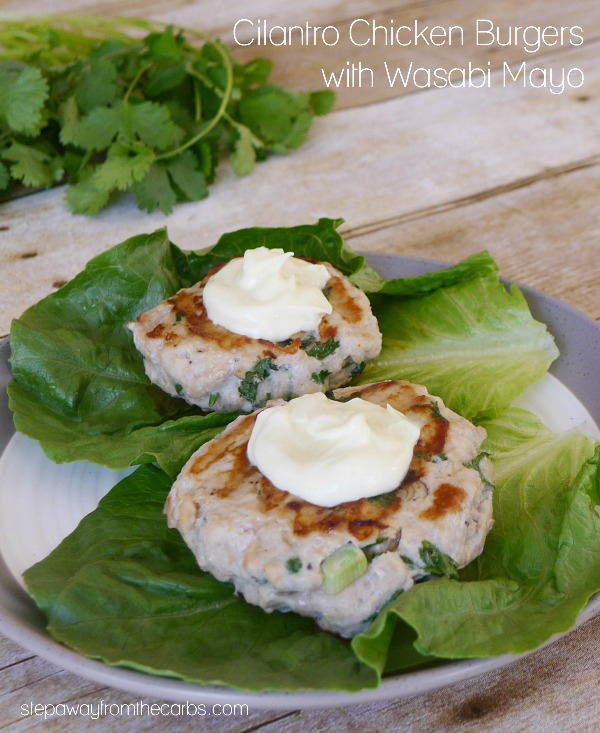 Cilantro Chicken Burgers with Wasabi Mayo - low carb , keto, and gluten-free recipe