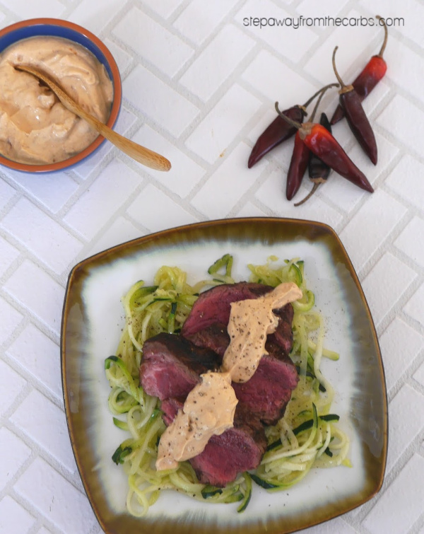 Steak with Creamy Chipotle Sauce and Zoodles - a deliciously spicy low carb recipe!