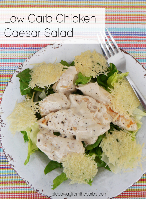 Low Carb Chicken Caesar Salad with Parmesan Crisps - keto and gluten free recipe