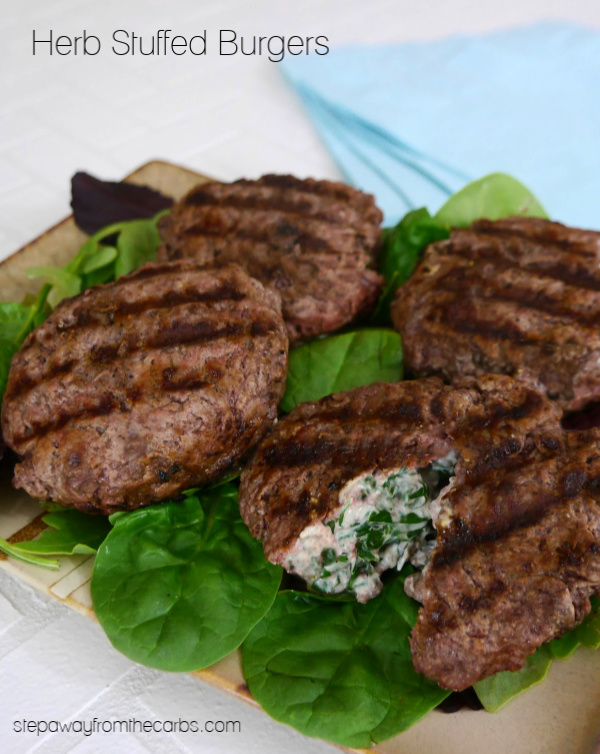 Herb Stuffed Burgers - an easy low carb, keto, and gluten free recipe