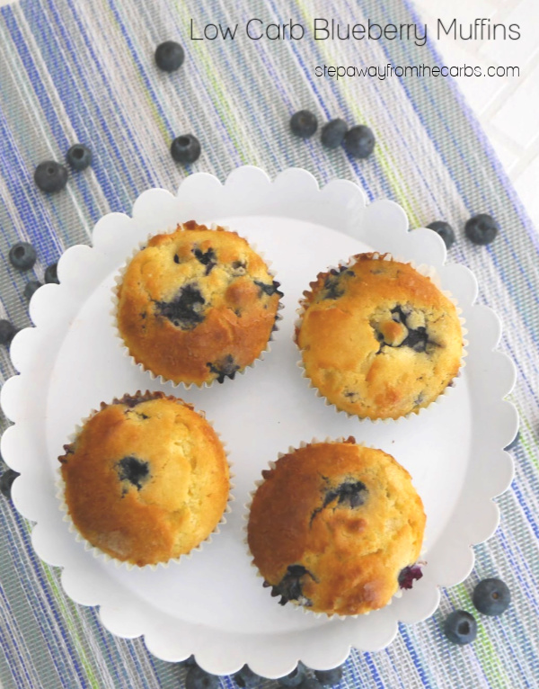 Low Carb Blueberry Muffins - a tasty snack for any time of day! Sugar free, gluten free, and keto friendly recipe.