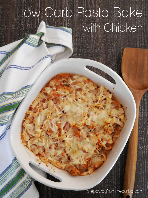 Low Carb Pasta Bake with Chicken - made with shirataki penne!