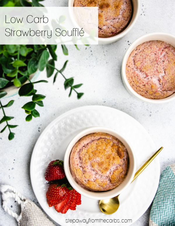 Low Carb Strawberry Soufflé - individual light and fluffy desserts! Sugar free and keto recipe with video tutorial.