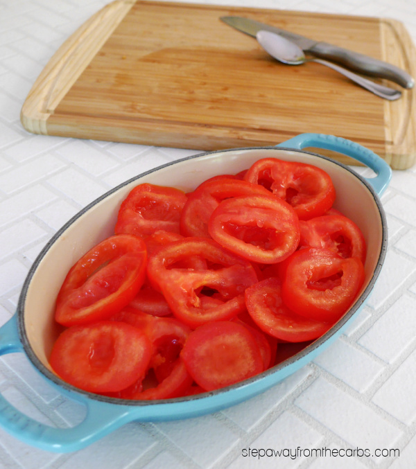 Baked Tomatoes with Tarragon Cream Sauce - a low carb side dish recipe