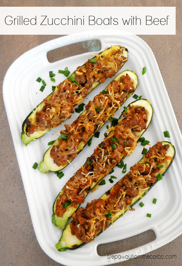 Grilled Zucchini Boats with Beef - an easy five-ingredient low carb recipe