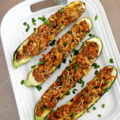 Grilled Zucchini Boats with Beef