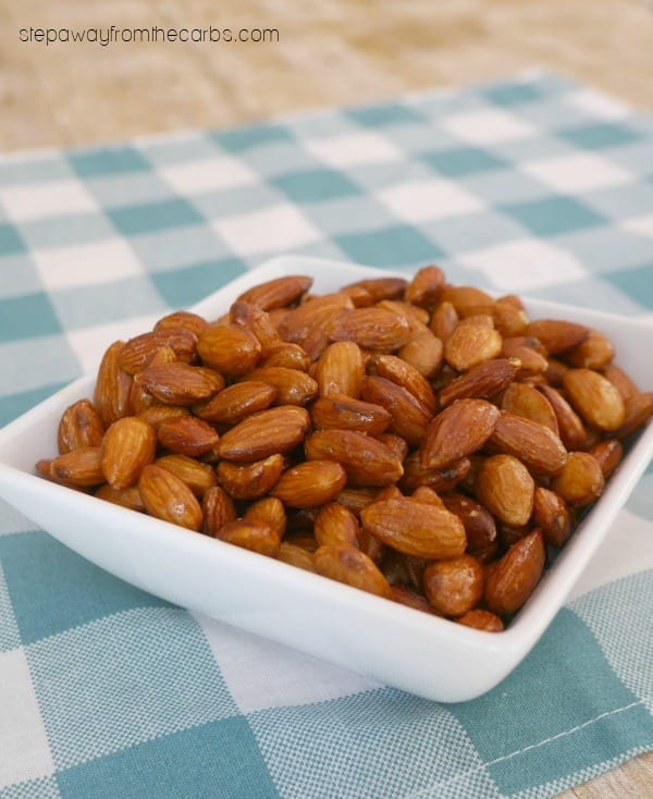 Low Carb Buffalo Almonds - a spicy snack recipe made in the slow cooker or Instant Pot