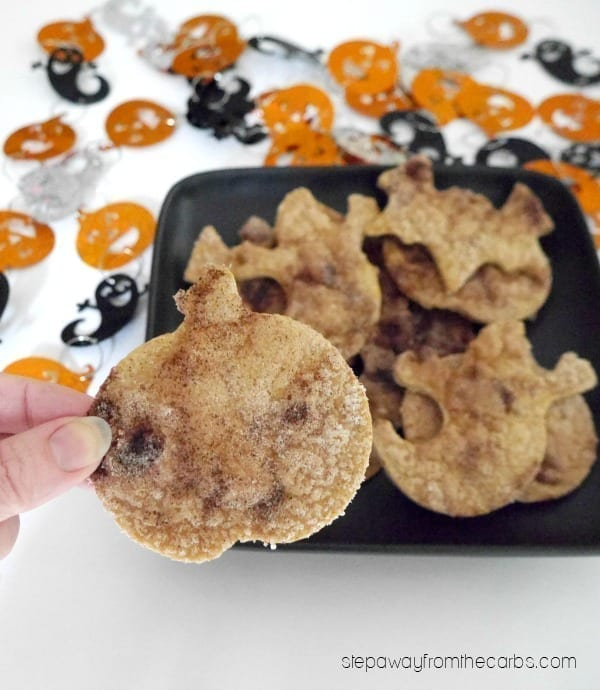 Low Carb Halloween Chips - a fun sugar free and low carb cinnamon snack!