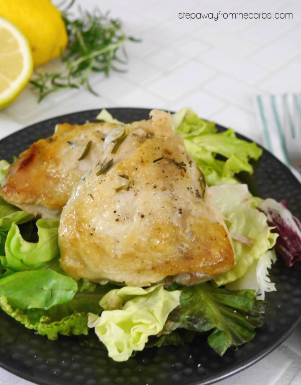 Slow Cooker Chicken Thighs with Rosemary and Lemon - a super tender recipe that's almost zero carb!
