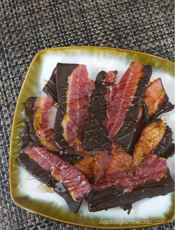 Low Carb Chocolate Dipped Bacon - a sweet and salty sugar free snack